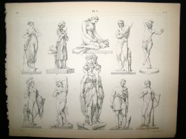 Statues/Sculpture 1857 Antique Print. 8